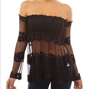 🆕 Patty women's lace smocked off shoulder top M